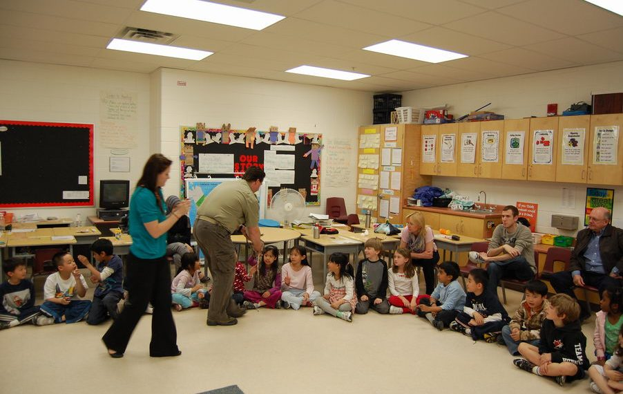 reptilia educator teaching elementary students