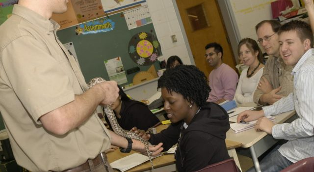 Reptilia Educator teaching students secondary school programs
