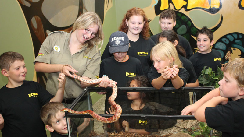RECF Campers learning about snakes at Reptilia Camp