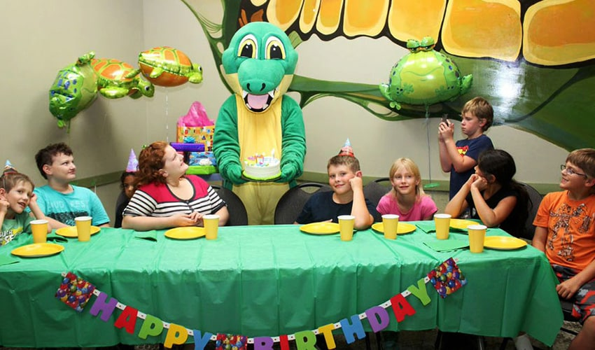 Reptilia Zoo Birthday Party with Children and Alligator Mascot
